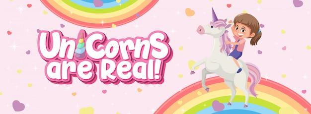 Einhorn sind echtes logo mit mädchen, das auf einhorn auf rosa hintergrund reitet