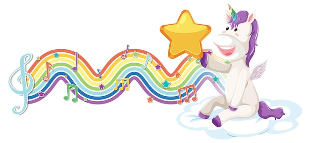Einhorn sitzt auf der wolke mit melodiesymbolen auf regenbogenwelle