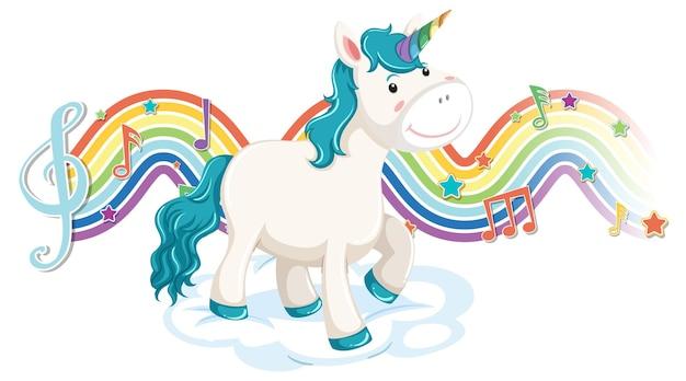 Einhorn steht auf der wolke mit melodiesymbolen auf regenbogenwelle Kostenlosen Vektoren