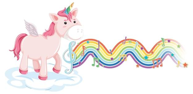 Einhorn steht auf der wolke mit melodiesymbolen auf regenbogenwelle