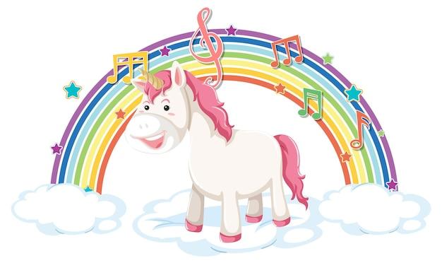 Einhorn steht auf wolke mit regenbogen- und melodiesymbol