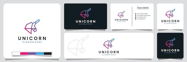 Einhorn, technologie, mit strichzeichnungen, inspiration für das logo-design