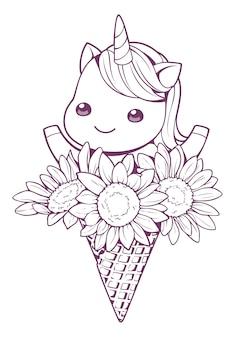 Einhorn und sonnenblume im kegelgekritzel