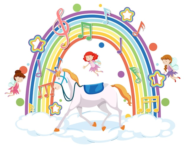 Einhorn und viele feen auf der wolke mit regenbogen
