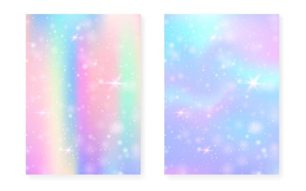 Einhornhintergrund mit kawaii magischem farbverlauf