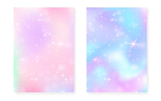 Einhornhintergrund mit kawaii magischem gradienten