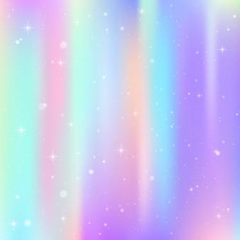 Einhornhintergrund mit regenbogenmasche. buntes universum in prinzessinfarben. fantasy farbverlauf mit hologramm.