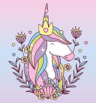 Einhornkarikatur mit blattkranzentwurf, magische fantasie märchenhafte kindheitstierfee wild süß und lieblich