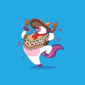 Einhornkarikatur tanzen mit maracas