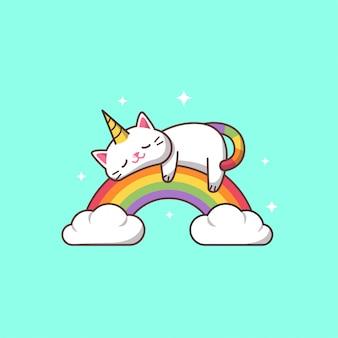 Einhornkatze, die auf einem regenbogen schläft