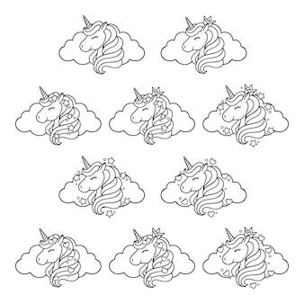 Einhornkopf eingestellt mit wolke, sternen und herzen.