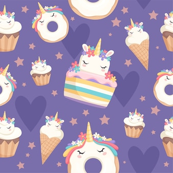 Einhornmuster. dessertdekoration magisches pony mit cupcakes donut süßigkeiten feier nahtlosen hintergrund. illustration einhorn pony süßigkeiten, waffelkegel verpackung