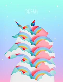 Einhornschattenbild-papierkunst schnitt in schicht mit wolke und regenbogen in pastellfarbschema ve ein