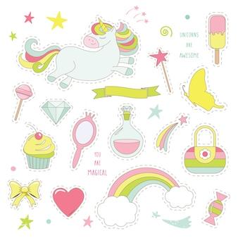 Einhornzauber mit regenbogen, sternen und süßigkeiten.