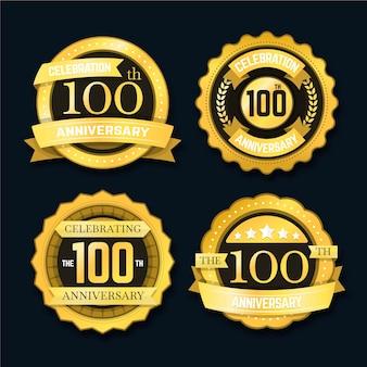 Einhundert jubiläumsetiketten gesetzt
