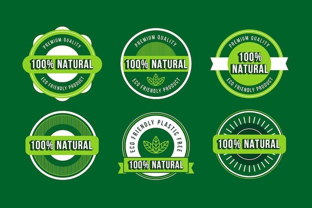 Einhundert prozent natürliches abzeichenpaket