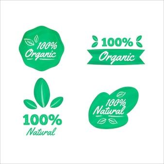Einhundert prozent natürliches etikettenset