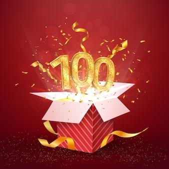 Einhundertjähriges jubiläum und offene geschenkbox mit explosionen konfetti isoliert designelement
