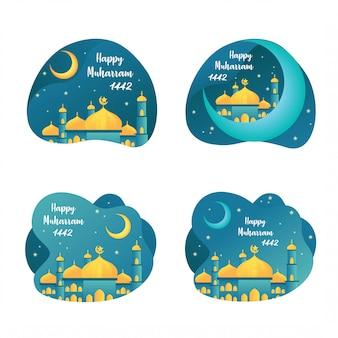 Einige flache entwürfe zum feiern des islamischen neujahrs, die am muharram-monat beginnen.