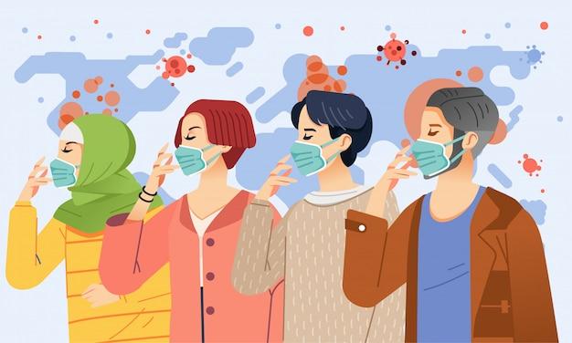Einige junge menschen, männer und frauen, tragen masken, um ansteckende viren auf der ganzen welt zu verhindern