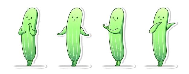 Einige niedliche karikatur der gurkenhaltung