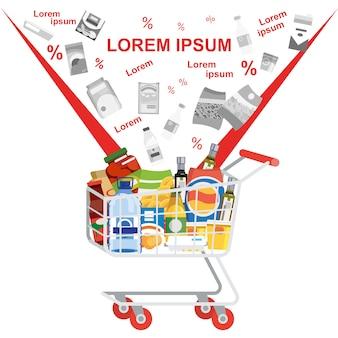 Einkauf auf supermarkt-verkaufs-flachem vektor-konzept
