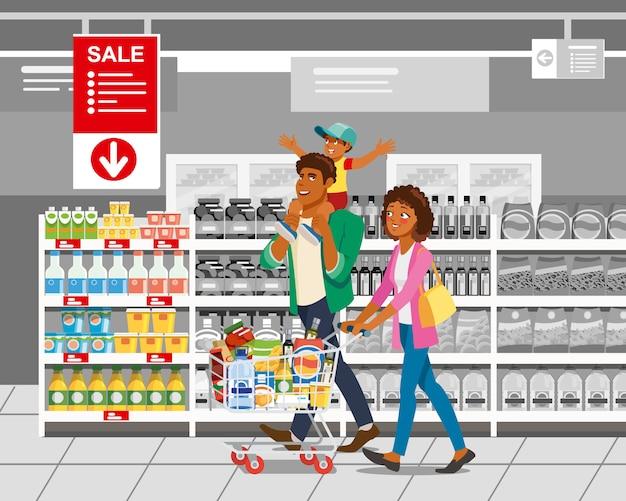 Einkauf mit familien-karikatur-vektor-konzept