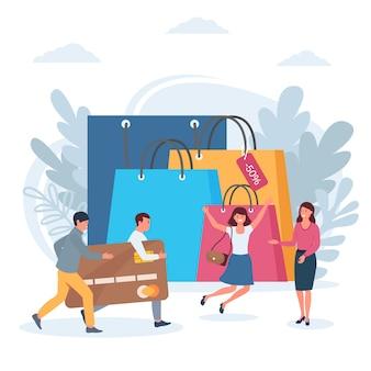 Einkauf, verkauf, glückliche menschen mit bankkarte nahe enormen taschen lokalisierten illustration.