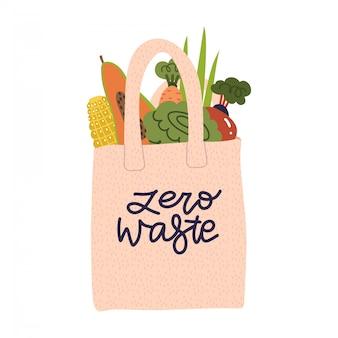 Einkauf von wiederverwendbaren einkaufstüten mit gemüse, obst und produkten ohne verpackung. baumwoll-öko-tasche, kein plastikkonzept. null abfall schriftzug flache vektor-illustration.