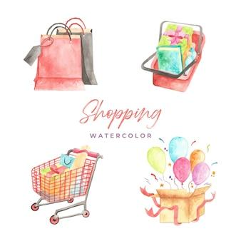 Einkaufen aquarell