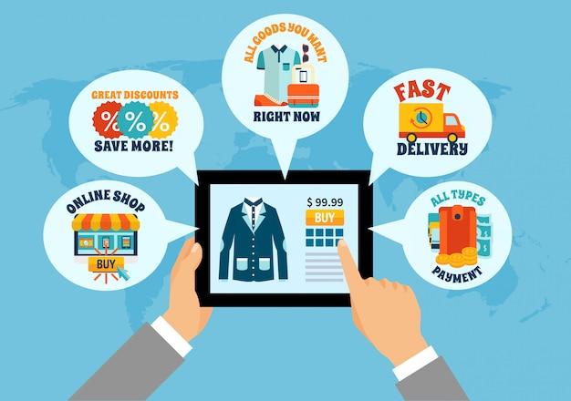Einkaufen auf tablet-online-zusammensetzung