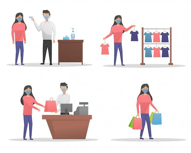 Einkaufen bei neuer normaler jahreszeitillustration