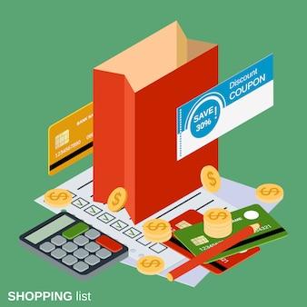 Einkaufen flach 3d isometrisch