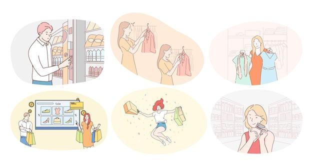 Einkaufen im handelszentrum oder supermarkt und verkaufskonzept. glückliche frauen- und männerkunden-zeichentrickfiguren, die im lebensmittelgeschäft oder in der kleiderboutique einkaufen und mit karte für kauf kaufen