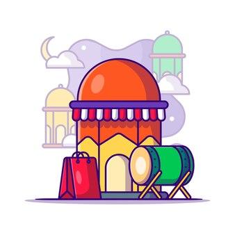 Einkaufen im monat ramadan cartoon illustration