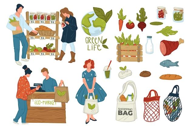 Einkaufen im öko-shop, isolierte symbole von menschen, die gemüse oder gurken wählen. kassiererin mit kunden, die umweltfreundliche produkte kaufen. mesh- und canvas-tasche, gemüse und fleischvektor im flachen stil