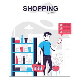 Einkaufen isoliertes cartoon-konzept mann kauft waren von der liste in der mobilen app in den geschäftskunden
