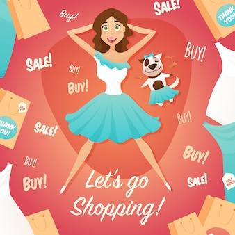 Einkaufen-mädchen-verkaufs-anzeigen-flaches plakat
