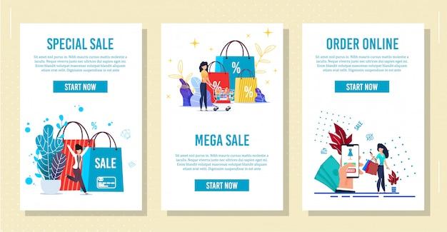 Einkaufen mobile pages für social network apps set