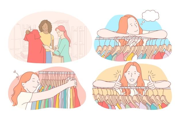 Einkaufen, mode, kleidung, bekleidung, kundenkonzept. junge positive frauenzeichentrickfiguren