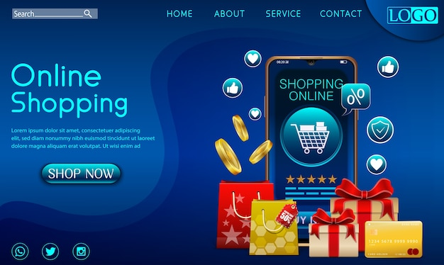Einkaufen online-design-konzept auf mobile anwendung mit geschenken