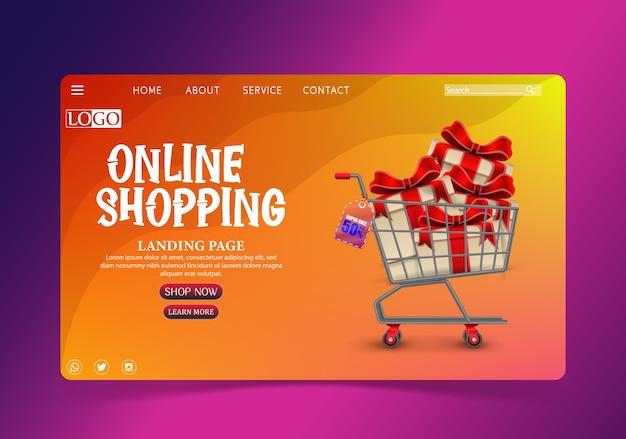 Einkaufen online-design-konzept mit geschenken