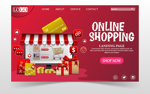 Einkaufen online-design-konzept mit laptop und geschenken