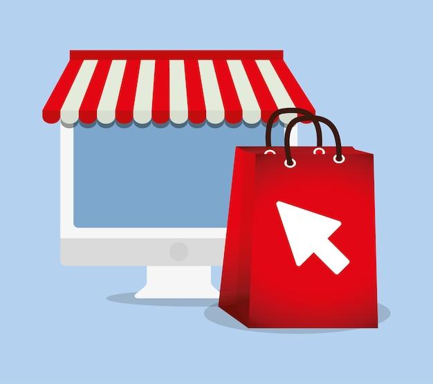 Einkaufen online e-commerce tasche geschenk computer
