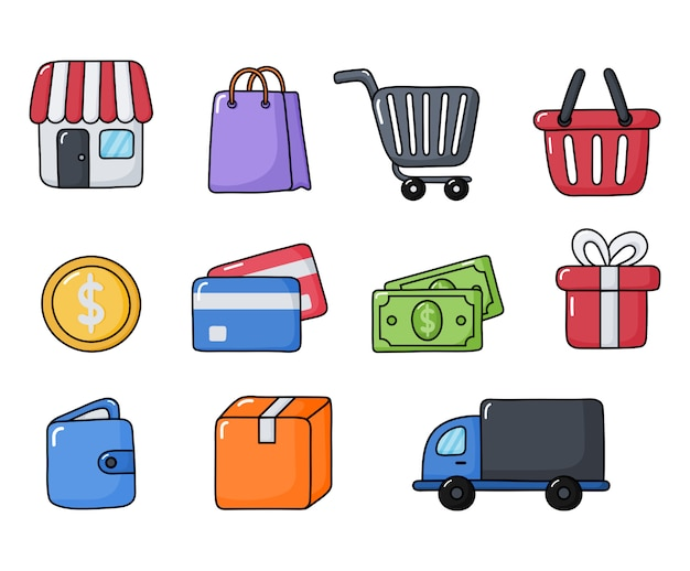 Einkaufen online icons set isoliert
