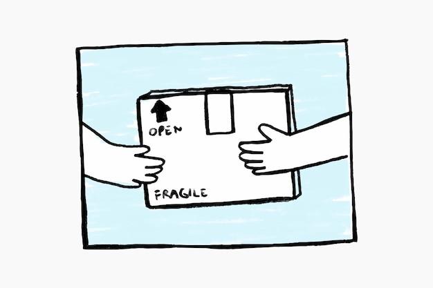 Einkaufen paketzustellung doodle vektor kontaktloses konzept