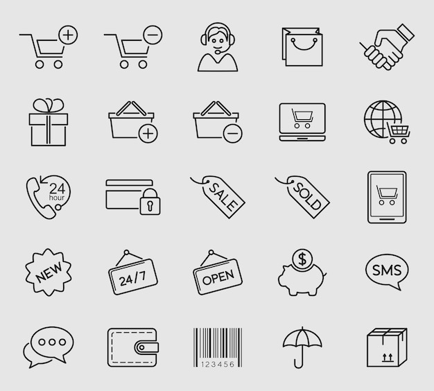 Einkaufen- und e-commerce-ikonen eingestellt