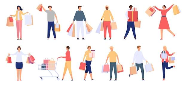 Einkaufende leute. männliche und weibliche verbraucher mit einkaufstüten, geschenkboxen und karren. glückliche kundencharaktere mit kauf, cartoon-vektor-set. illustration weiblich und männlich mit einkäufen