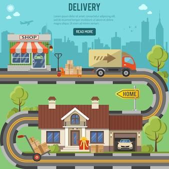 Einkaufs-, liefer- und logistikkonzept mit flachen icons für e-commerce-marketing und werbung wie shop, lieferung, lkw und haus. vektor-illustration