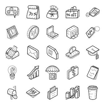 Einkaufs- und finanzhand gezeichneter ikonen satz